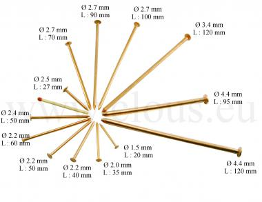 Pointe Cuivre Tête plate Ø 2.7 mm